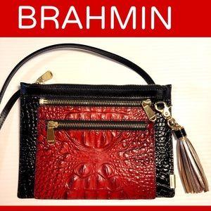 Brahmin Triple Treat Crossbody Red Black like new